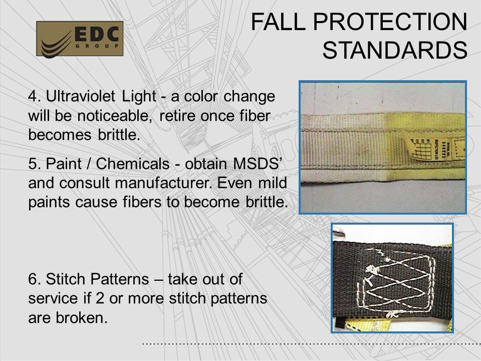 44 FALL PROTECTION STANDARDS 4. Ultraviolet Light - a color change will be noticeable, retire once fiber becomes brittle. 5. Paint / Chemicals - obtai