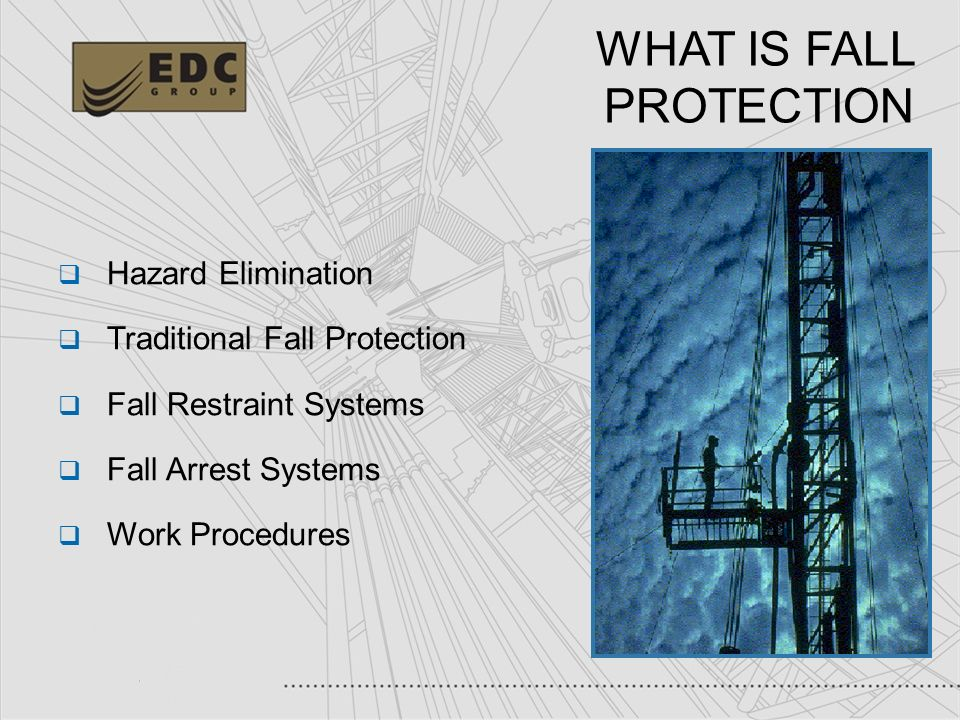 9 WHAT IS FALL PROTECTION Hazard Elimination Traditional Fall Protection Fall Restraint Systems Fall Arrest Systems Work Procedures