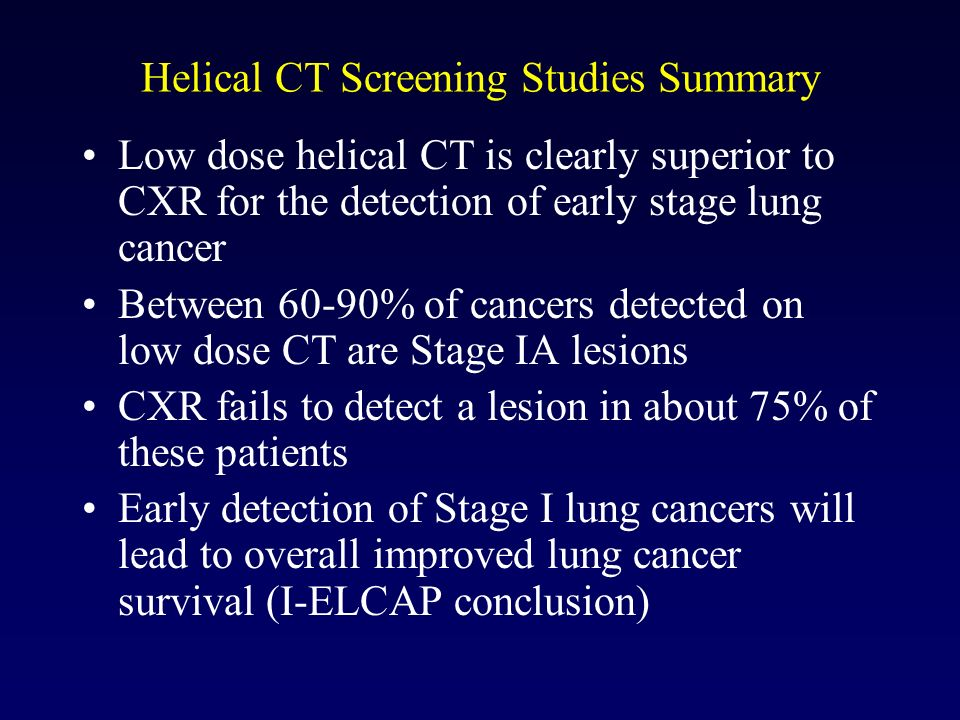 Helical CT Screening Studies Summary Low dose helical CT is clearly superior to CXR for the detection of early stage lung cancer Between 60-90% of can