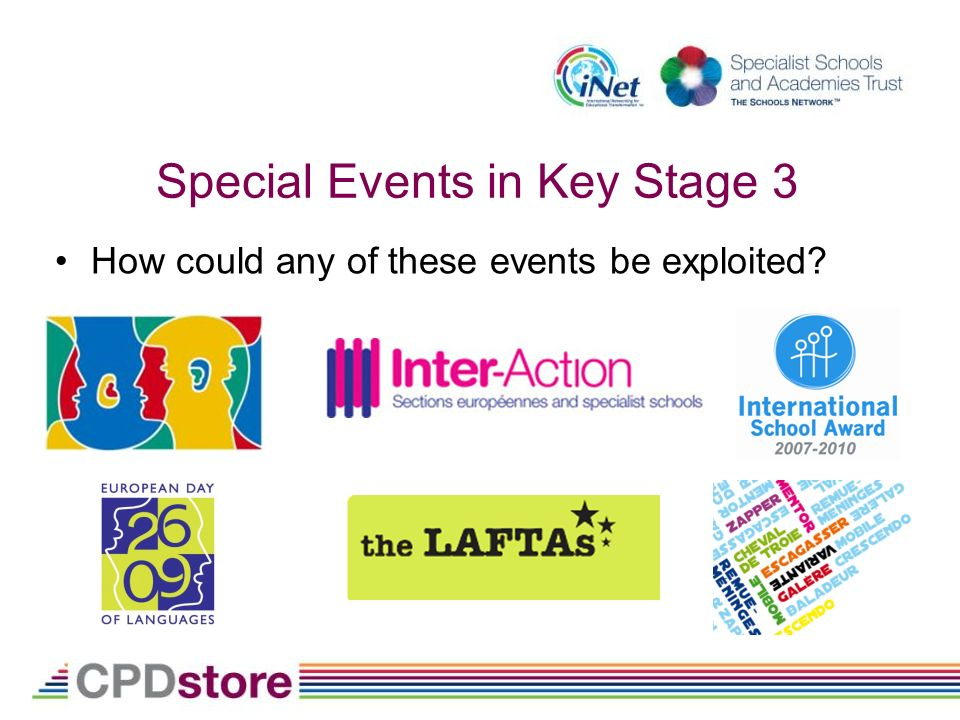 Special Events in Key Stage 3 How could any of these events be exploited?