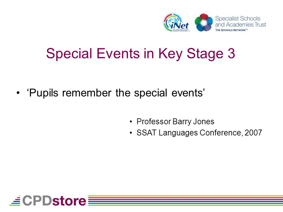 Special Events in Key Stage 3 Pupils remember the special events Professor Barry Jones SSAT Languages Conference, 2007