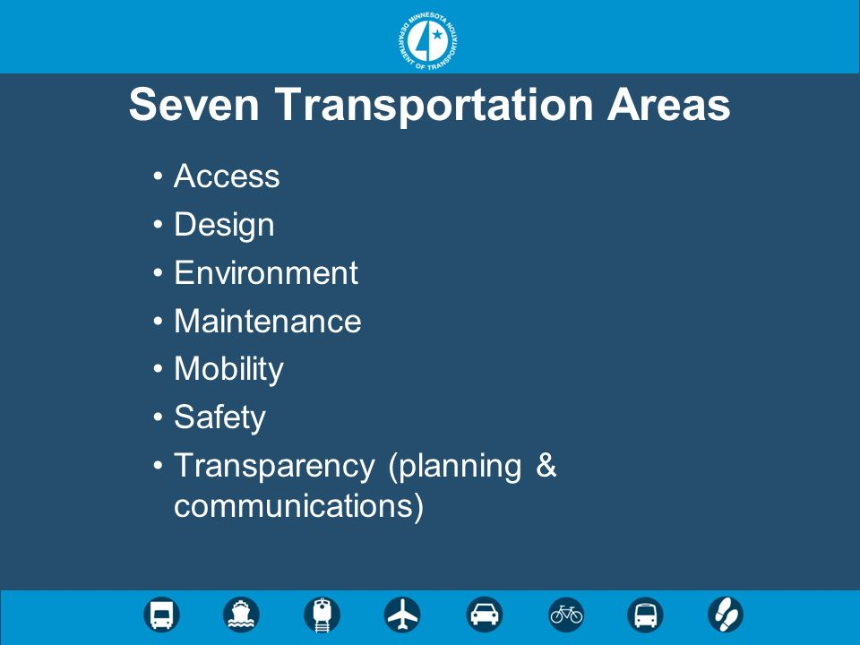 Seven Transportation Areas Access Design Environment Maintenance Mobility Safety Transparency (planning & communications)