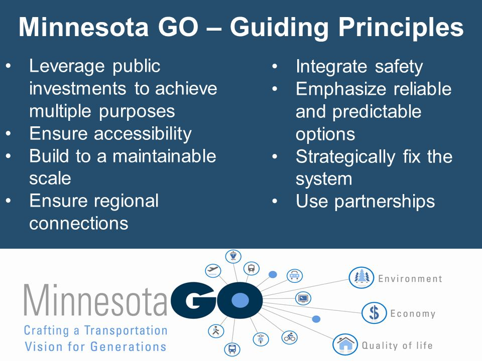 The Vision Will Lead Directly Into the next 20-year Statewide Multimodal Transportation Plan Vision Statewide Multimodal Transportation Plan Modal System & Investment Plans Minnesota GO - 50 Year Vision For more information: http://www.minnesotagoplan.org