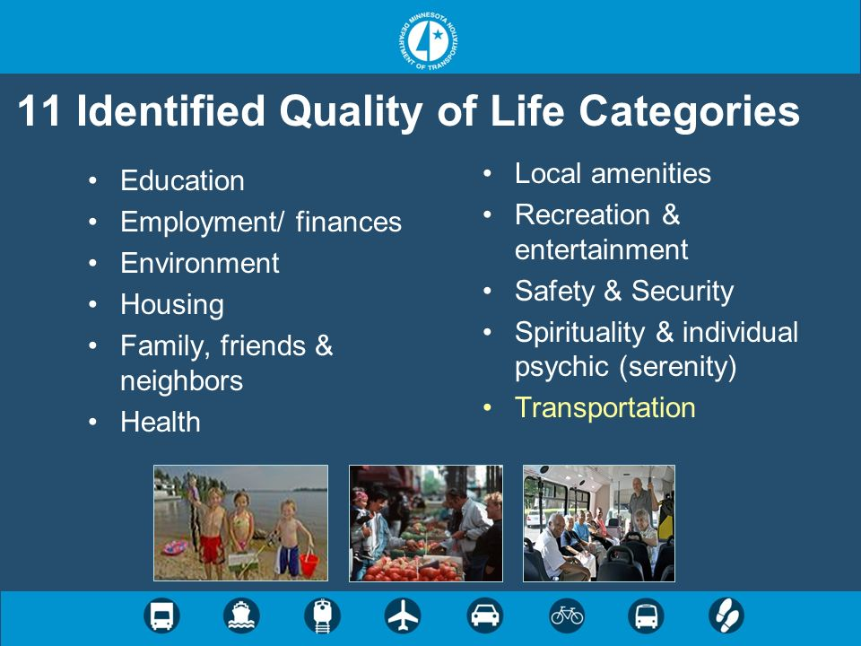 Relationship Among 11 QOL Areas Factor 1Factor 2Factor 3Factor 4 EducationHealthLocal services/ amenities Spirituality, faith & serenity EnvironmentFamily/friendsRecreation EmploymentSafety/security Housing Transportation