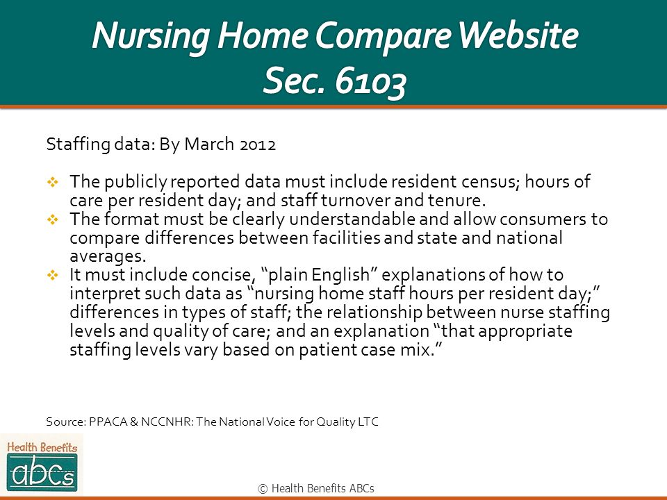 © Health Benefits ABCs Staffing data: By March 2012 The publicly reported data must include resident census; hours of care per resident day; and staff