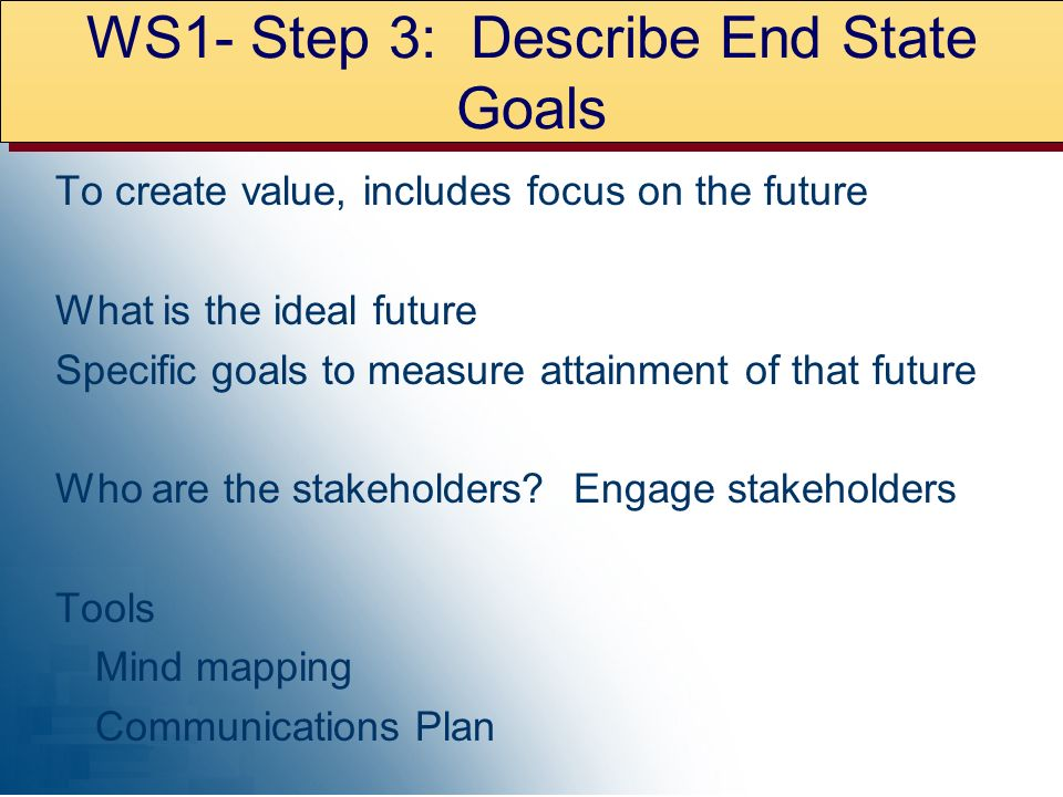 WS1- Step 3: Describe End State Goals To create value, includes focus on the future What is the ideal future Specific goals to measure attainment of that future Who are the stakeholders.