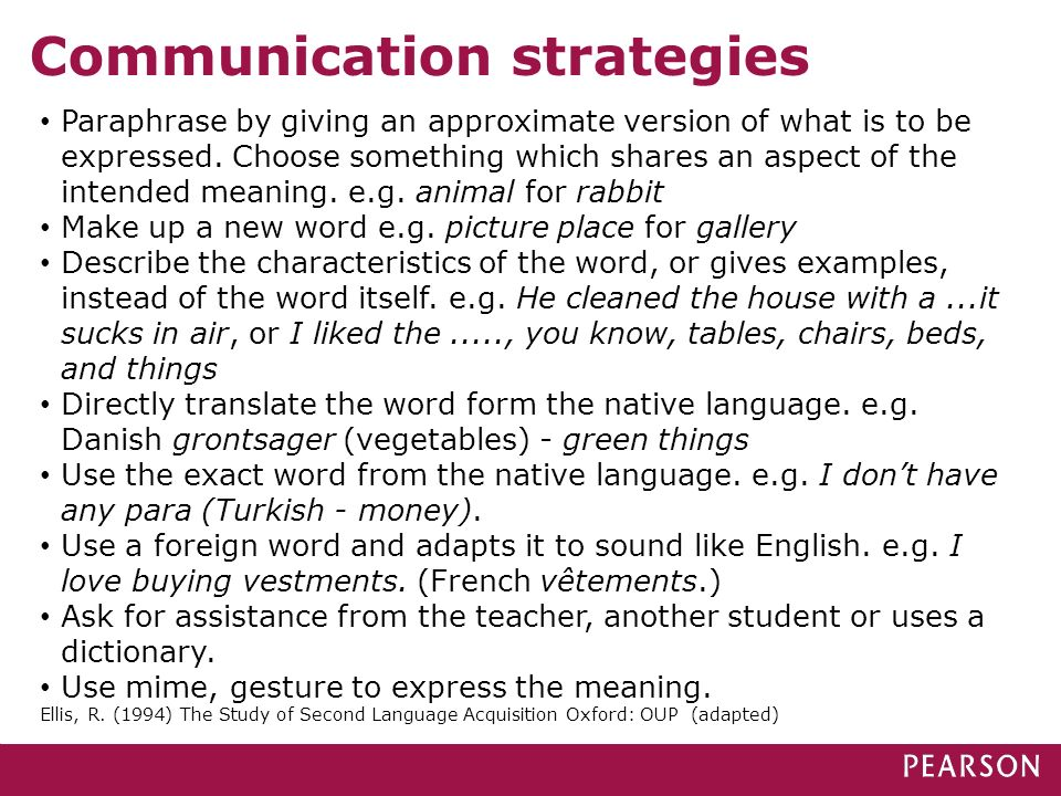 Communication strategies Paraphrase by giving an approximate version of what is to be expressed. Choose something which shares an aspect of the intend
