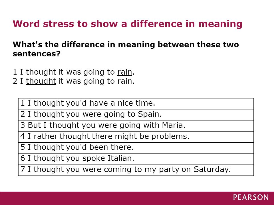 Word stress to show a difference in meaning What's the difference in meaning between these two sentences? 1 I thought it was going to rain. 2 I though