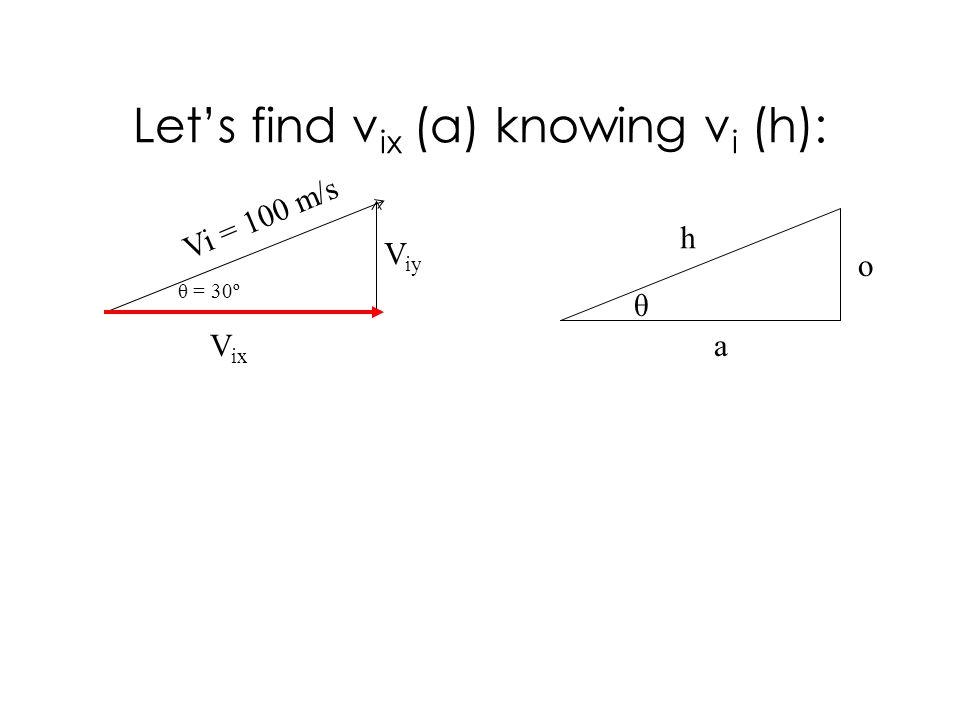 Lets find v ix (a) knowing v i (h): Vi = 100 m/s V ix V iy h o a θ θ = 30º