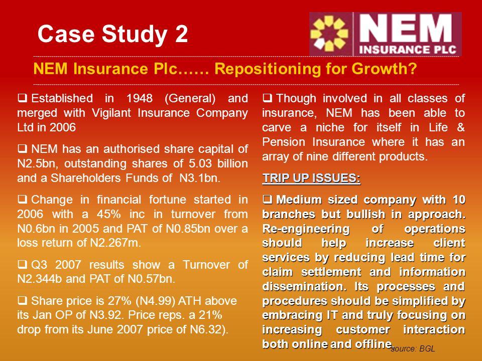 Case Study 2 NEM Insurance Plc…… Repositioning for Growth.