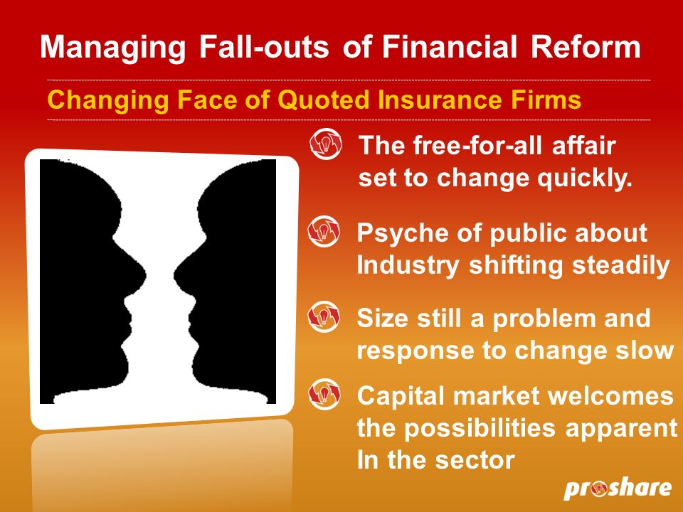 Managing Fall-outs of Financial Reform Changing Face of Quoted Insurance Firms The free-for-all affair set to change quickly.