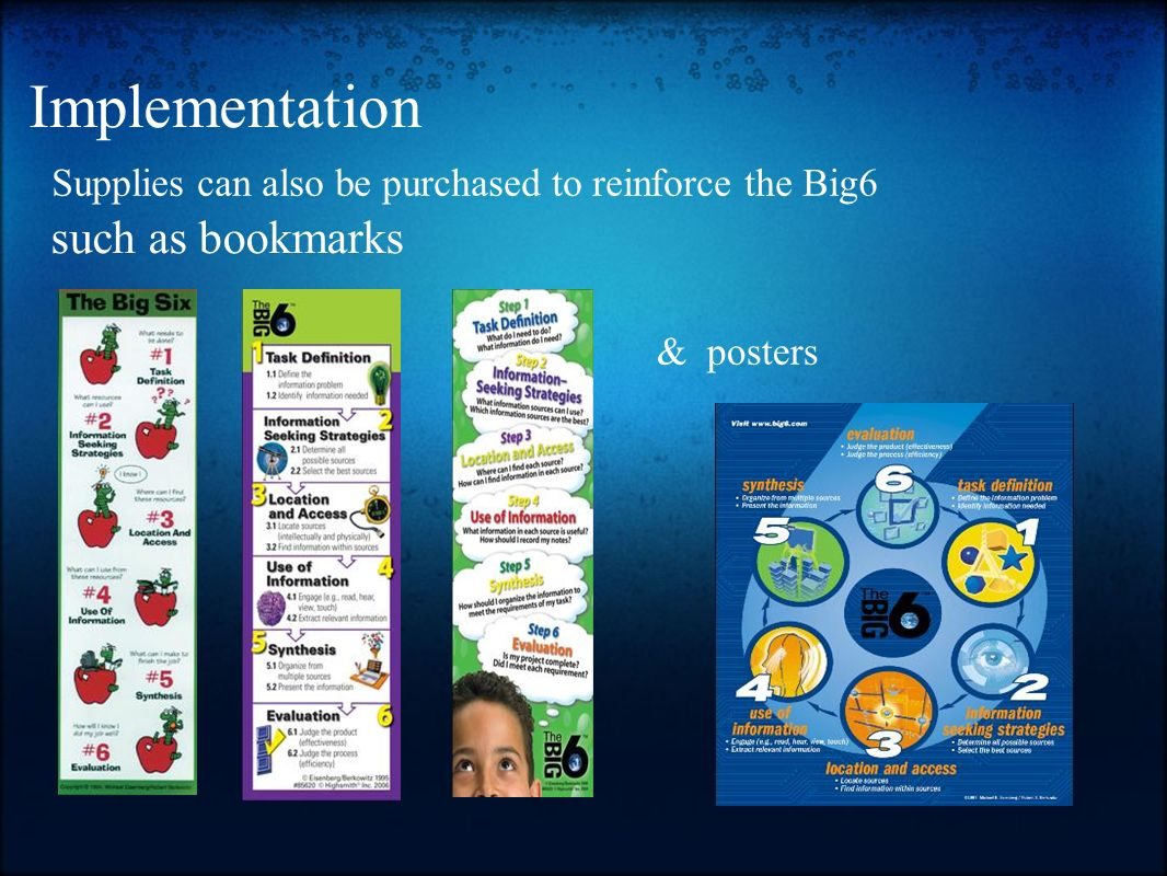 Implementation such as bookmarks Supplies can also be purchased to reinforce the Big6 & posters