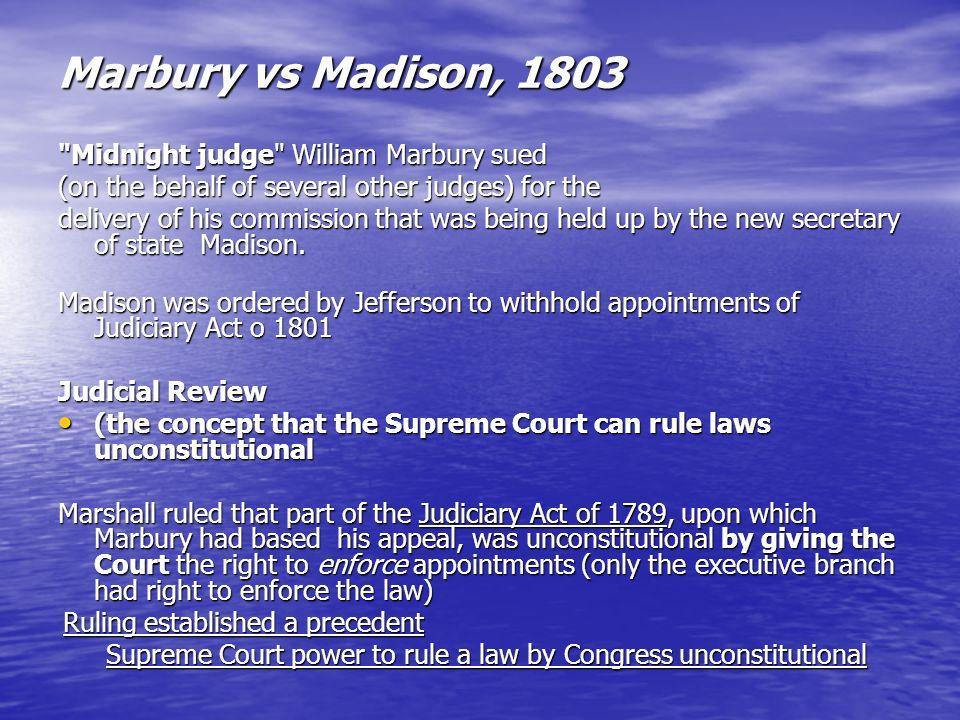 Marbury vs Madison, 1803