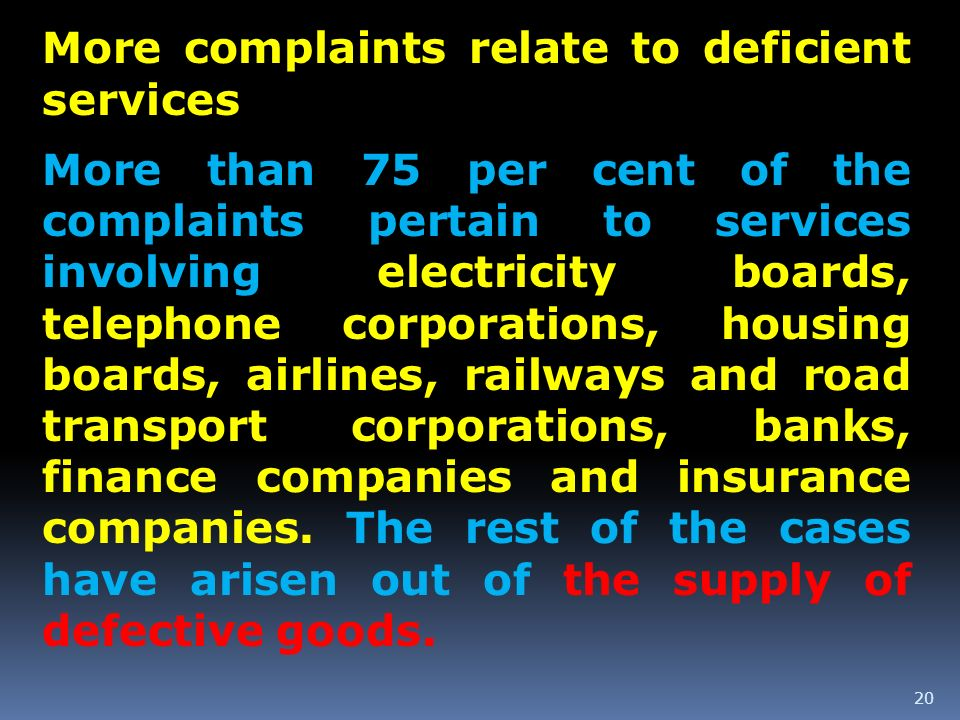 20 More complaints relate to deficient services More than 75 per cent of the complaints pertain to services involving electricity boards, telephone co