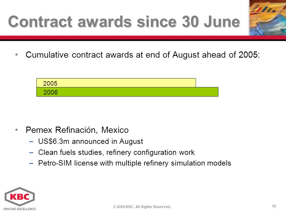 © 2006 KBC. All Rights Reserved. 10 Contract awards since 30 June Cumulative contract awards at end of August ahead of 2005: Pemex Refinación, Mexico