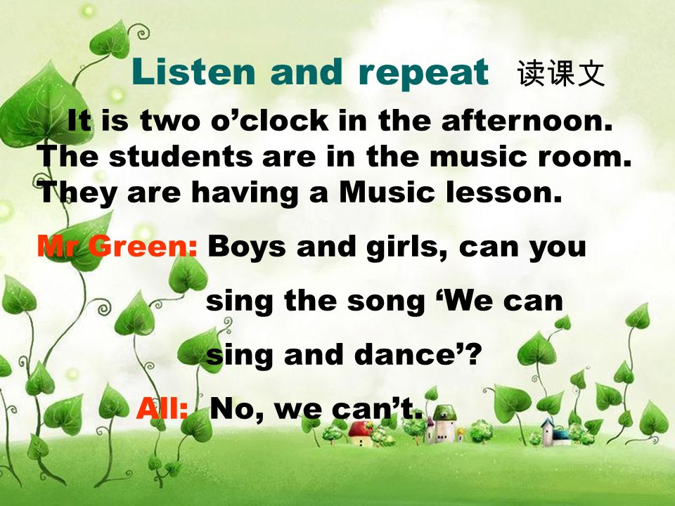 Listen and repeat It is two oclock in the afternoon.