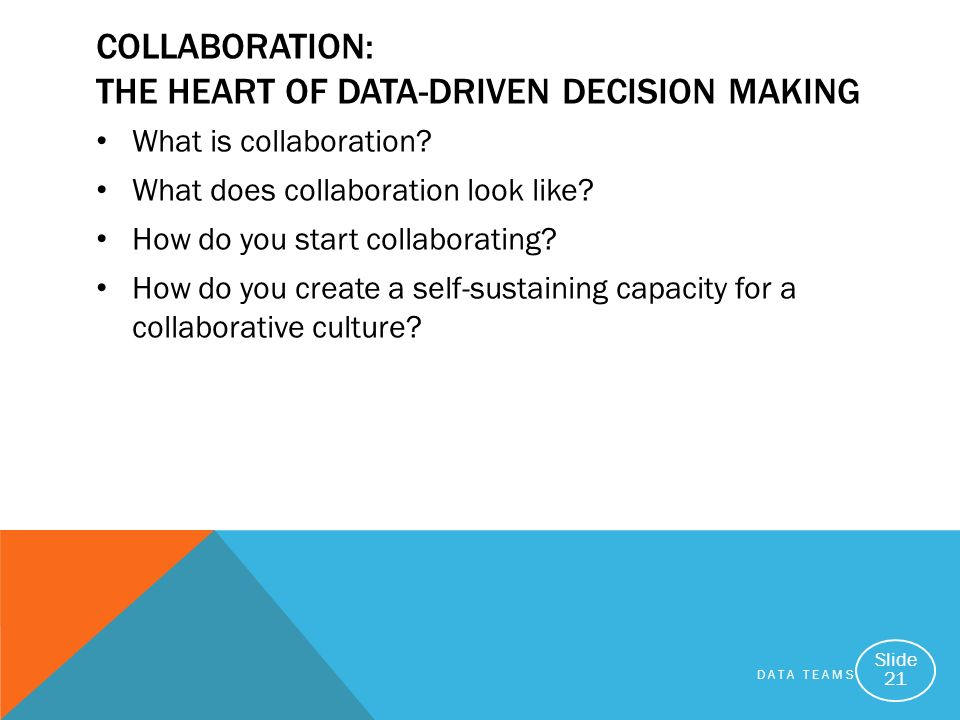 DATA TEAMS Slide 21 COLLABORATION: THE HEART OF DATA-DRIVEN DECISION MAKING What is collaboration? What does collaboration look like? How do you start