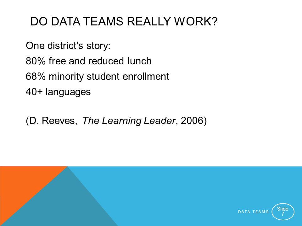 DATA TEAMS Slide 7 DO DATA TEAMS REALLY WORK? One districts story: 80% free and reduced lunch 68% minority student enrollment 40+ languages (D. Reeves