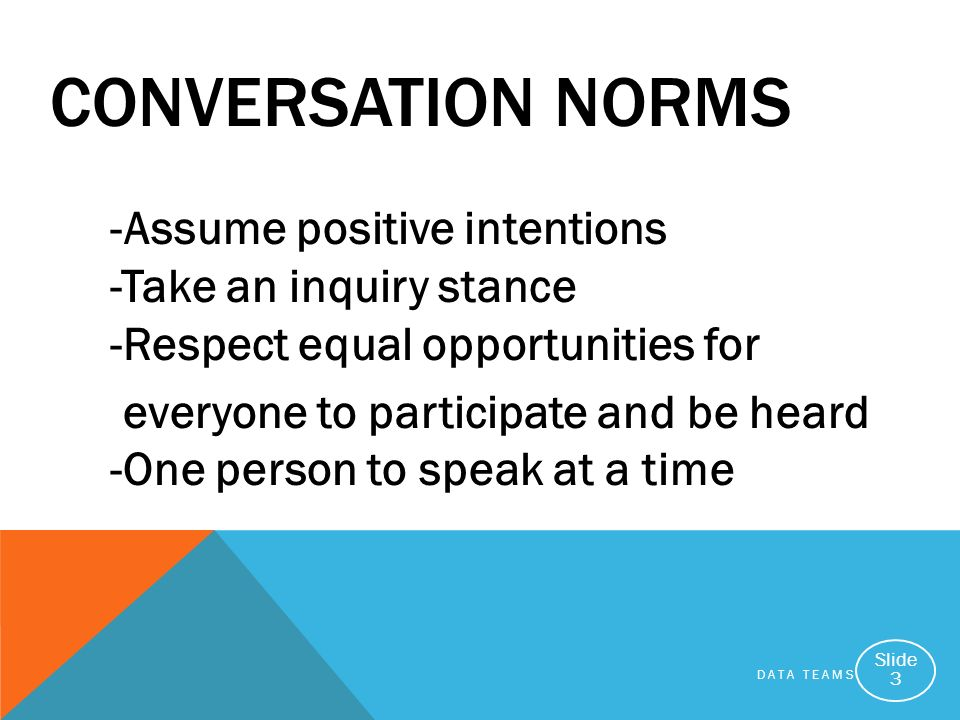 DATA TEAMS Slide 3 -Assume positive intentions -Take an inquiry stance -Respect equal opportunities for everyone to participate and be heard -One person to speak at a time CONVERSATION NORMS