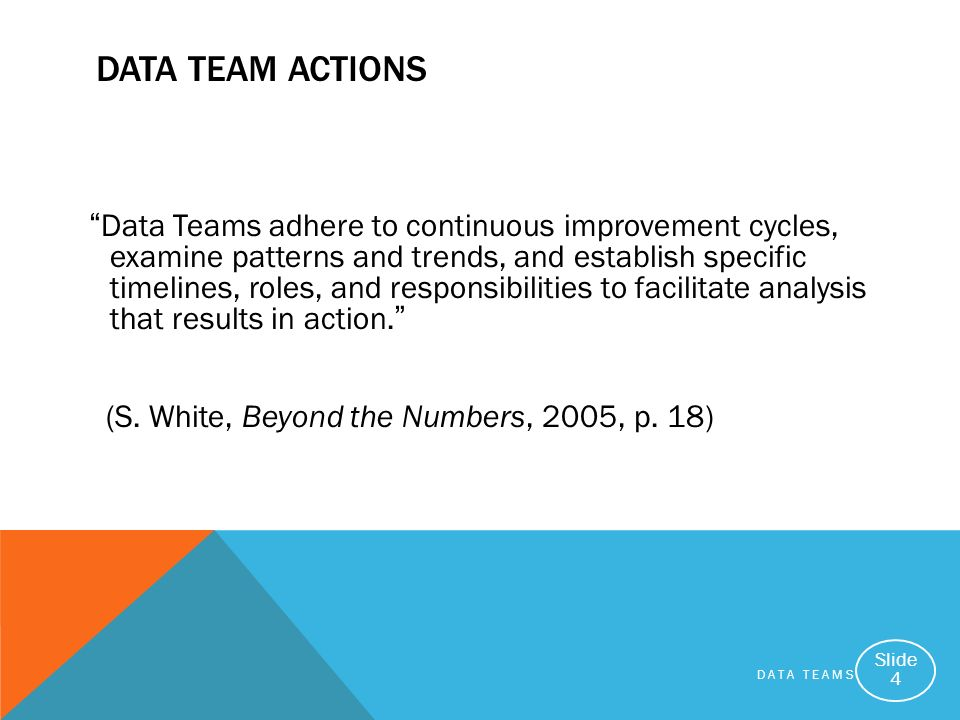 DATA TEAMS Slide 4 DATA TEAM ACTIONS Data Teams adhere to continuous improvement cycles, examine patterns and trends, and establish specific timelines, roles, and responsibilities to facilitate analysis that results in action.