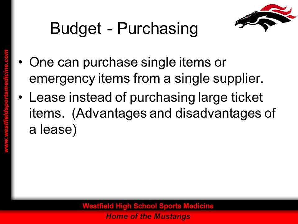 Budget - Purchasing One can purchase single items or emergency items from a single supplier.