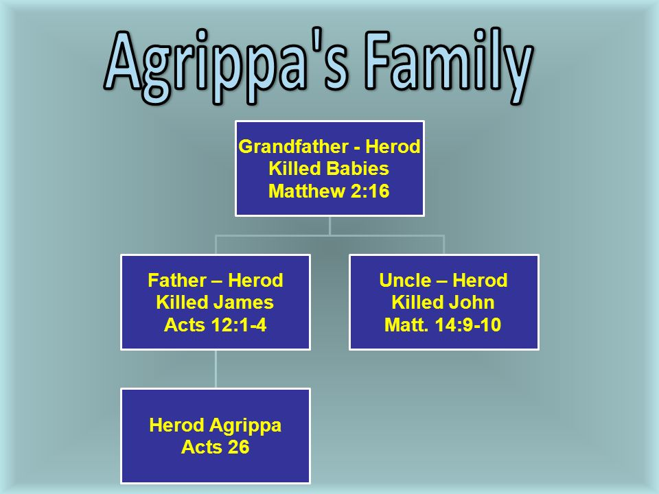 Grandfather - Herod Killed Babies Matthew 2:16 Father – Herod Killed James Acts 12:1-4 Herod Agrippa Acts 26 Uncle – Herod Killed John Matt.