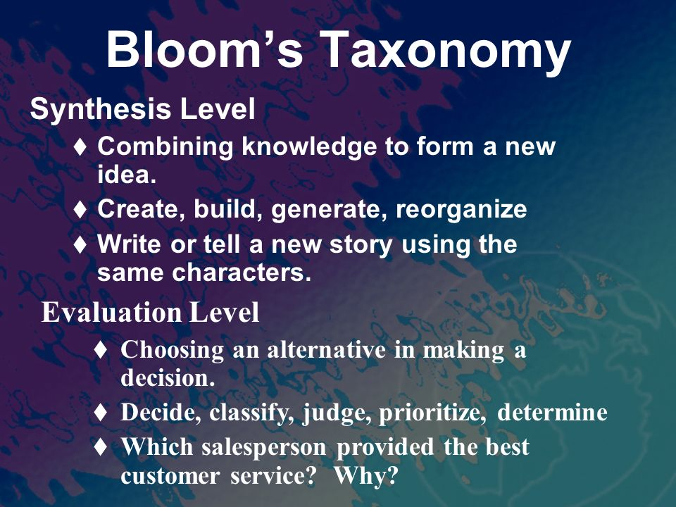 Blooms Taxonomy Synthesis Level Combining knowledge to form a new idea.