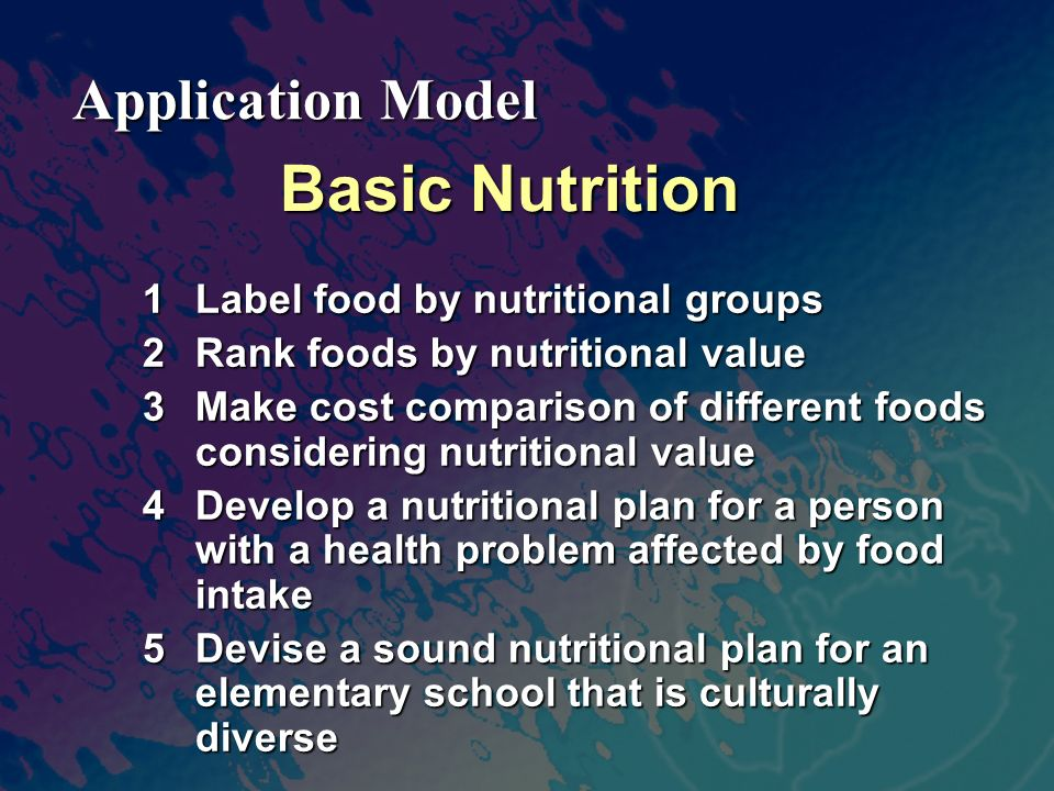 Basic Nutrition 1Label food by nutritional groups 2Rank foods by nutritional value 3Make cost comparison of different foods considering nutritional value 4Develop a nutritional plan for a person with a health problem affected by food intake 5Devise a sound nutritional plan for an elementary school that is culturally diverse Application Model