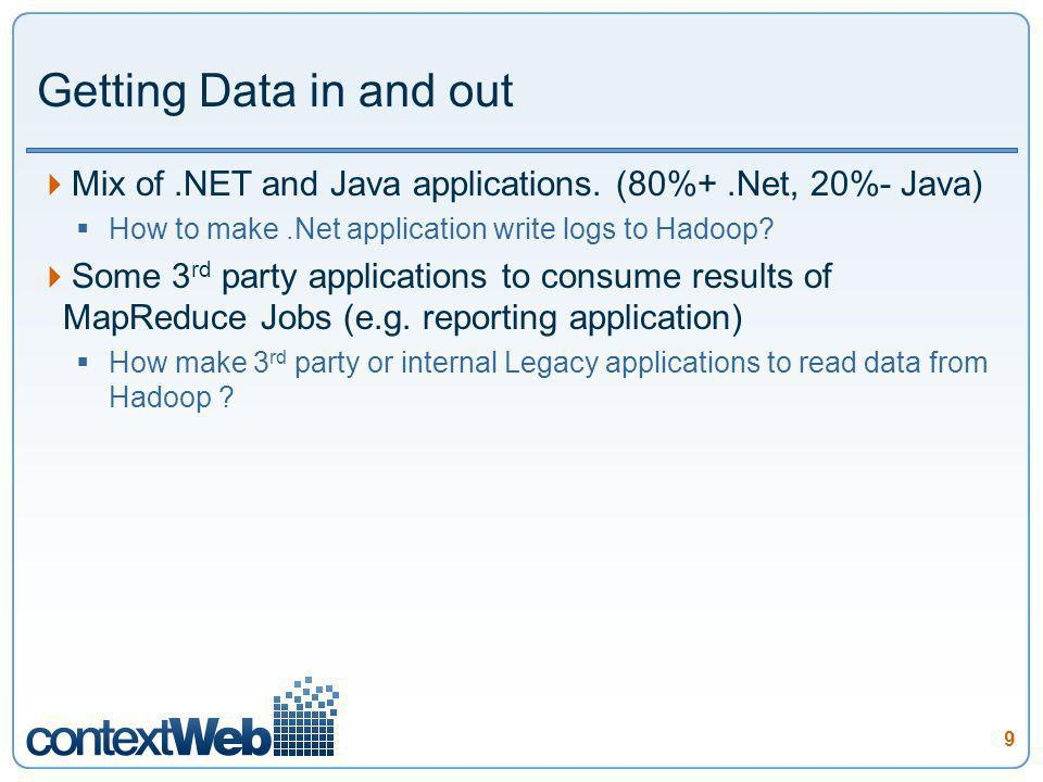 9 Getting Data in and out Mix of.NET and Java applications. (80%+.Net, 20%- Java) How to make.Net application write logs to Hadoop? Some 3 rd party ap
