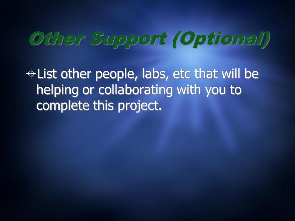 Other Support (Optional) List other people, labs, etc that will be helping or collaborating with you to complete this project.