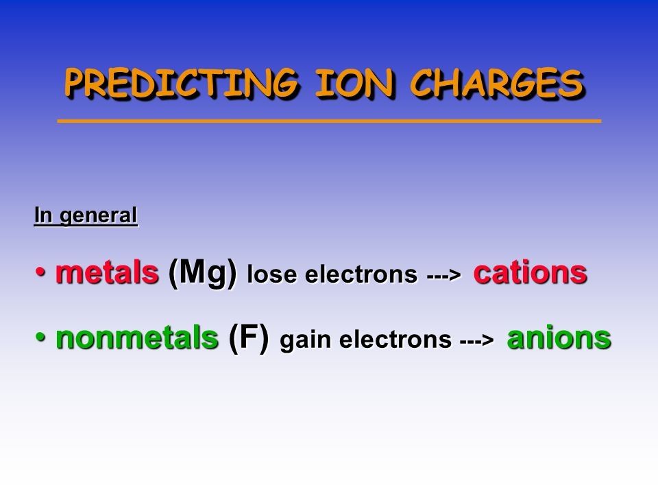 Forming Cations & Anions A CATION forms when an atom loses one or more electrons. An ANION forms when an atom gains one or more electrons Mg --> Mg 2+