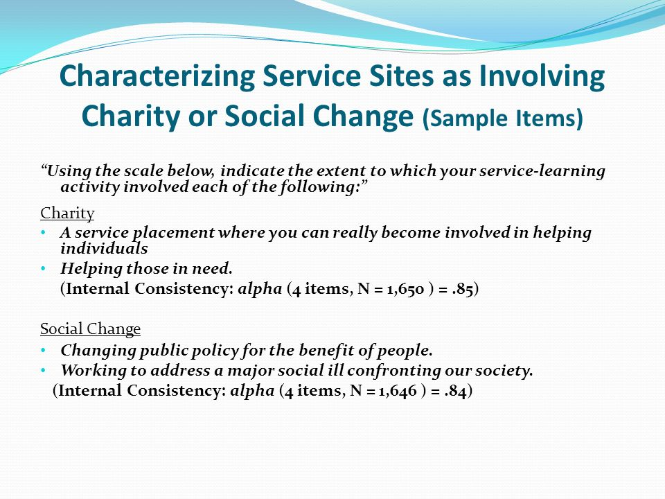 Characterizing Service Sites as Involving Charity or Social Change (Sample Items) Using the scale below, indicate the extent to which your service-learning activity involved each of the following: Charity A service placement where you can really become involved in helping individuals Helping those in need.