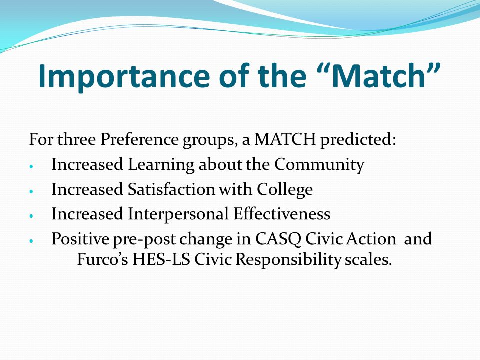 Importance of the Match For three Preference groups, a MATCH predicted: Increased Learning about the Community Increased Satisfaction with College Increased Interpersonal Effectiveness Positive pre-post change in CASQ Civic Action and Furcos HES-LS Civic Responsibility scales.