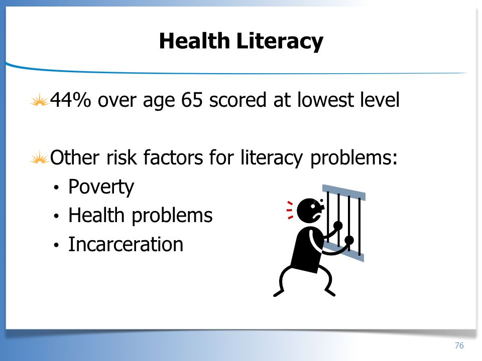 76 Health Literacy 44% over age 65 scored at lowest level Other risk factors for literacy problems: Poverty Health problems Incarceration