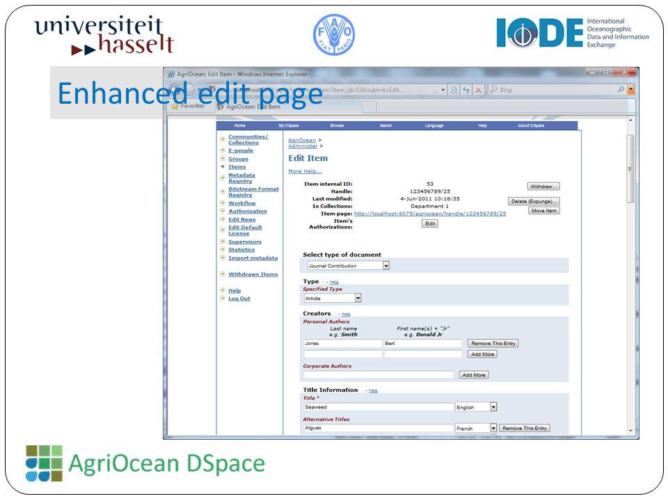 Enhanced edit page