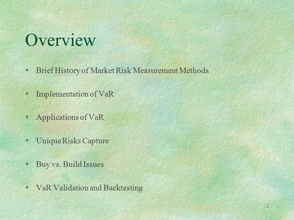 2 Overview §Brief History of Market Risk Measurement Methods §Implementation of VaR §Applications of VaR §Unique Risks Capture §Buy vs. Build Issues §