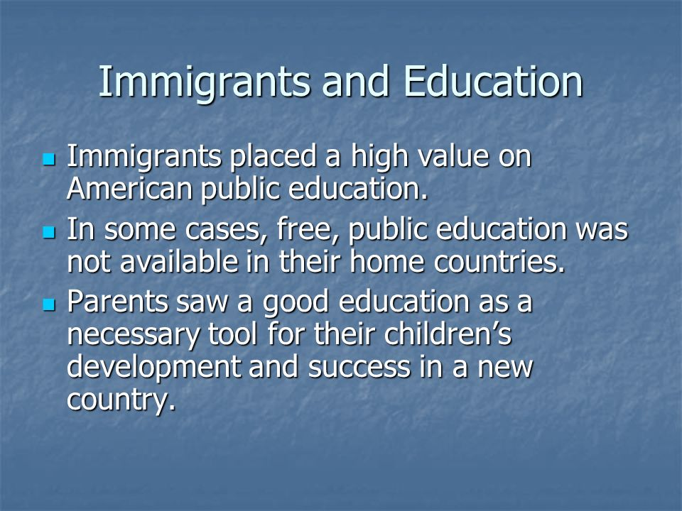Immigrant Education Literacy, the ability to read and write, was the most important aspect of an immigrants education.