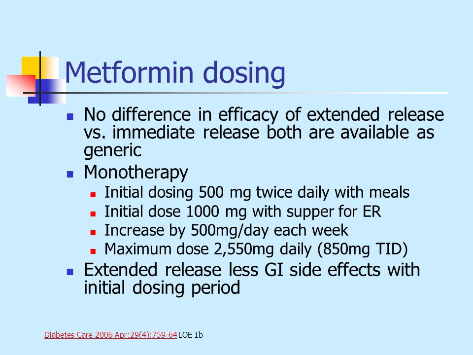 Metformin dosing No difference in efficacy of extended release vs. immediate release both are available as generic Monotherapy Initial dosing 500 mg t