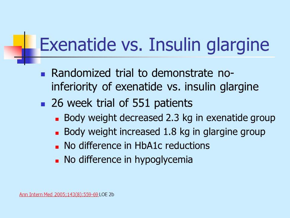 Exenatide vs. Insulin glargine Randomized trial to demonstrate no- inferiority of exenatide vs. insulin glargine 26 week trial of 551 patients Body we