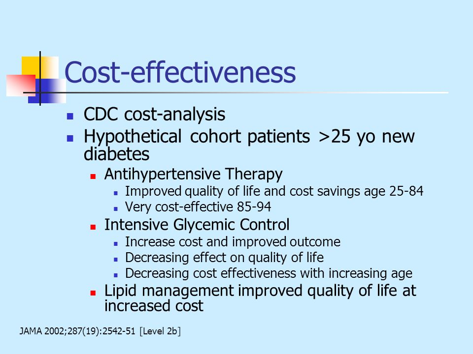 Cost-effectiveness CDC cost-analysis Hypothetical cohort patients >25 yo new diabetes Antihypertensive Therapy Improved quality of life and cost savin