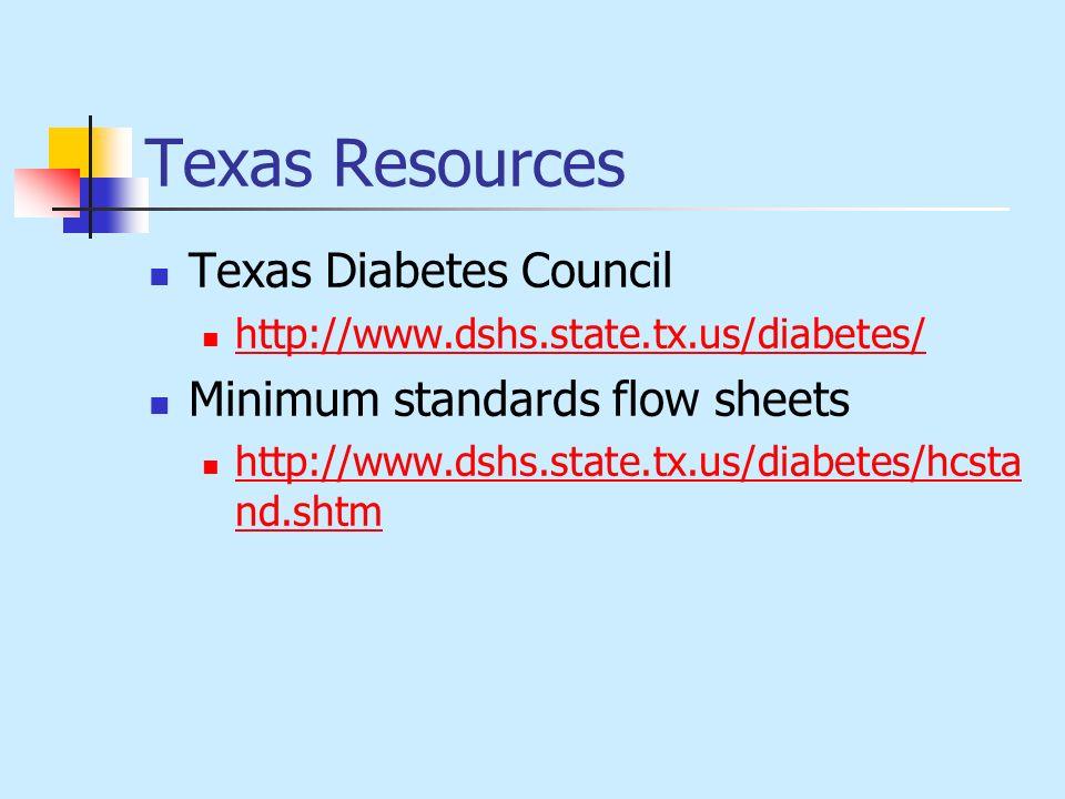 Texas Resources Texas Diabetes Council http://www.dshs.state.tx.us/diabetes/ Minimum standards flow sheets http://www.dshs.state.tx.us/diabetes/hcsta
