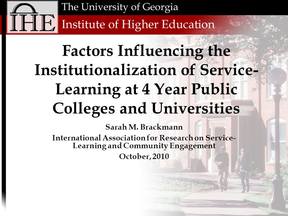 Implications & Future Research Quantitative, inferential study of service- learning using national datasets Provides a starting point for additional research looking at institutional factors Linear regression studying the change in variables as a result of achieving the classification