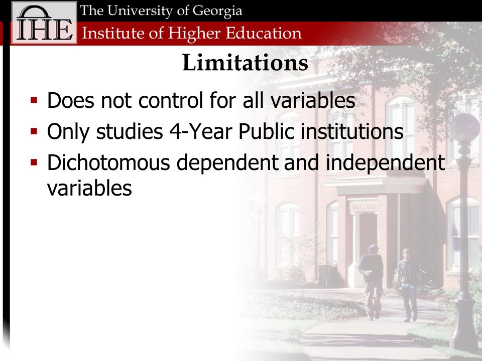 Limitations Does not control for all variables Only studies 4-Year Public institutions Dichotomous dependent and independent variables