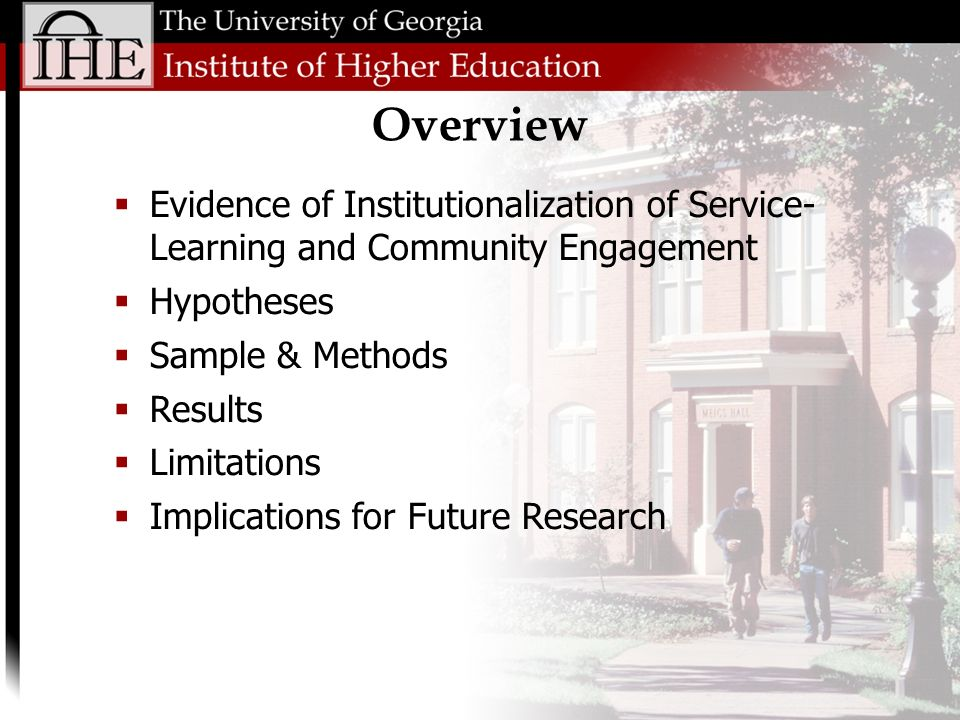 Overview Evidence of Institutionalization of Service- Learning and Community Engagement Hypotheses Sample & Methods Results Limitations Implications for Future Research