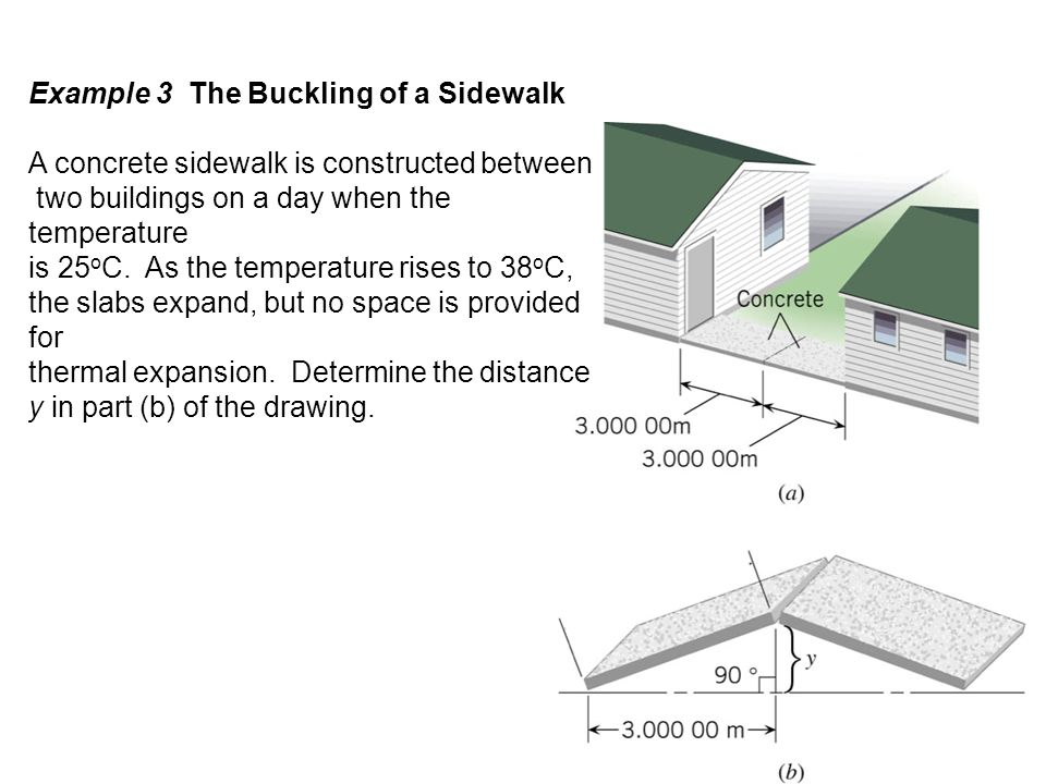 Example 3 The Buckling of a Sidewalk A concrete sidewalk is constructed between two buildings on a day when the temperature is 25 o C. As the temperat