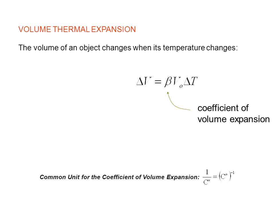 VOLUME THERMAL EXPANSION The volume of an object changes when its temperature changes: coefficient of volume expansion Common Unit for the Coefficient