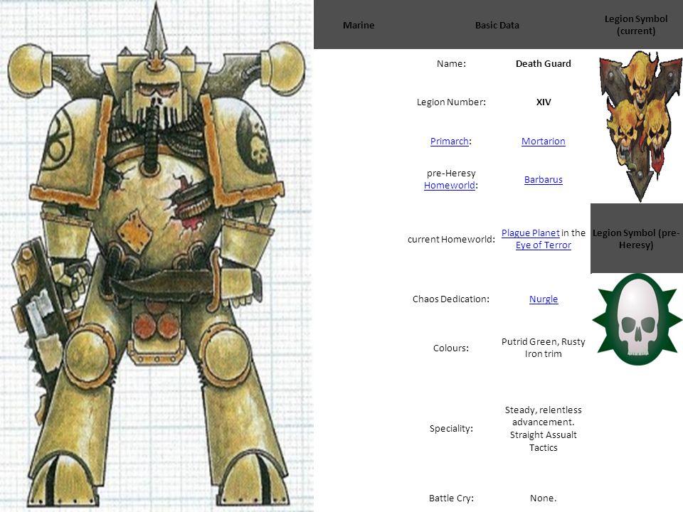 MarineBasic Data Legion Symbol (current) Name:Death Guard Legion Number:XIV PrimarchPrimarch:Mortarion pre-Heresy Homeworld: Homeworld Barbarus curren