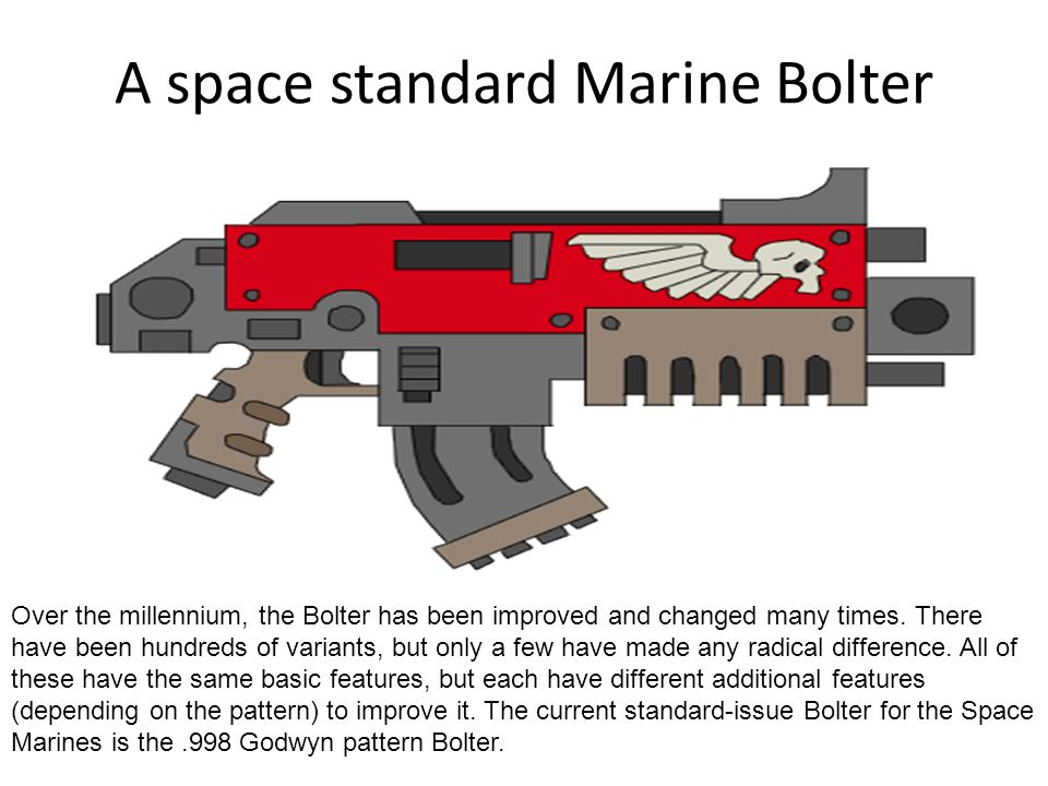A space standard Marine Bolter Over the millennium, the Bolter has been improved and changed many times. There have been hundreds of variants, but onl