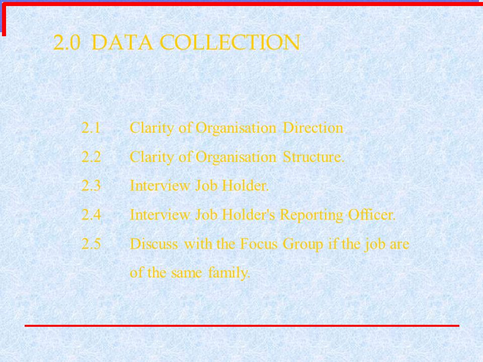 2.0 DATA COLLECTION 2.1Clarity of Organisation Direction 2.2Clarity of Organisation Structure. 2.3Interview Job Holder. 2.4Interview Job Holder's Repo