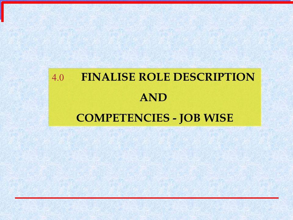 4.0 FINALISE ROLE DESCRIPTION AND COMPETENCIES - JOB WISE